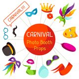 Carnival photo booth props. Accessories for festival and party.  royalty free illustration