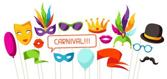 Carnival photo booth props. Accessories for festival and party.  vector illustration