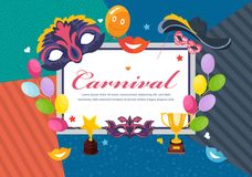 Carnival photo frame card, postcard. Happy masquerade, party, festive accessories. Carnival photo frame card, postcard. Happy masquerade, party and festive Royalty Free Stock Photo