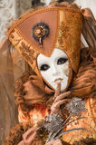 Carnival portrait. Portrait of a beautiful carnival mask and costume in golden brown shades