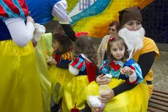 Carnival in Portugal. Monchique, Algarve, Portugal. Circa February 2018. Adults and children dressed up in Carnival costumes to celebrate the annual Portuguese Royalty Free Stock Photo
