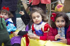 Carnival in Portugal. Monchique, Algarve, Portugal. Circa February 2018. Children dressed up in Carnival costumes to celebrate the annual Portuguese Carnival in Royalty Free Stock Image