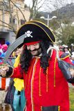 Carnival in Portugal. Monchique, Algarve, Portugal. Circa February 2018. Man dressed up in pirate Carnival costume to celebrate the annual Portuguese Carnival in Royalty Free Stock Photography