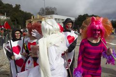 Carnival in Portugal. Monchique, Algarve, Portugal. Circa February 2018. People dressed up in Carnival costumes to celebrate the annual Portuguese Carnival in Royalty Free Stock Photography