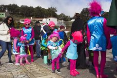 Carnival in Portugal. Monchique, Algarve, Portugal. Circa February 2018.  People dressed up in different carnival costumes to celebrate the annual Portuguese Stock Photography