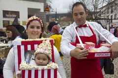 Carnival in Portugal. Monchique, Algarve, Portugal. Circa February 2018. People dressed up in popcorn Carnival costumes to celebrate the annual Portuguese Royalty Free Stock Photos