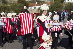 Carnival in Portugal. Monchique, Algarve, Portugal. Circa February 2018.  People dressed up in popcorn carnival costumes to celebrate the annual Portuguese Stock Images