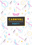 Carnival poster. abstract memphis 80s, 90s style retro background with place for text. Royalty Free Stock Image
