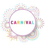 Carnival poster, banner with colorful party elements - fireworks. Confetti, stars and splashes. Festival concept design. Place for text Stock Photo