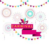 Carnival poster, banner with colorful party elements - fireworks. Confetti, stars and splashes. Festival concept design Royalty Free Stock Photos