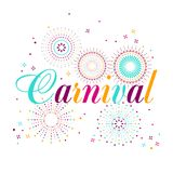 Carnival poster, banner with colorful party elements - fireworks. Confetti, stars and splashes. Festival concept design Stock Image