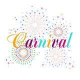 Carnival poster, banner with colorful party elements - fireworks. Confetti, stars and splashes. Festival concept design Royalty Free Stock Images