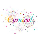 Carnival poster, banner with colorful party elements - fireworks. Confetti, stars and splashes. Festival concept design Royalty Free Stock Image
