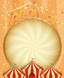 Carnival poster with bright inscription, sparkles, free place for text. Royalty Free Stock Photography