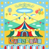 Carnival poster. Colorful carnival poster or card template vector illustration Stock Photo