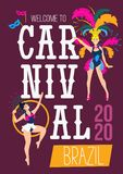 Carnival poster design template.Brazil festival colorful greeting card or invitation. Carnaval Concept with women in festive. Costumes and fireworks. Vector royalty free illustration