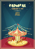 Carnival poster with merry-go-round in vintage style. Carousel with horses. Stock Images