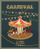 Carnival poster with merry-go-round in vintage style. Carousel with horses. Royalty Free Stock Images