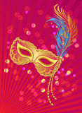 Carnival poster template with mask on lights background Royalty Free Stock Photo