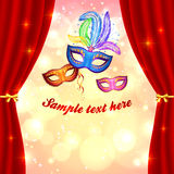 Carnival poster template with masks and curtain Royalty Free Stock Photography