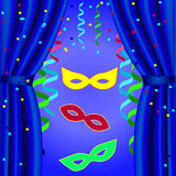 Carnival poster template to open the curtain with masks, streamers. On a blue background Stock Photography