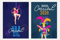 Carnival posters set design template.Brazil festival colorful greeting card or invitation. Carnaval Concept with women in festive. Costumes and fireworks stock illustration
