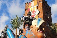Carnival Procession Aalst, Belgium. AALST, BELGIUM, 12 FEBRUARY 2018: Unknown Aalst carnival participants celebrate during the annual street parade. Aalst Royalty Free Stock Images