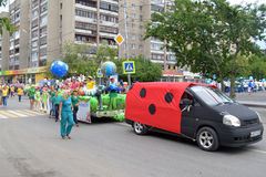 Carnival procession in a City Day. Tyumen, Russia. Royalty Free Stock Photo