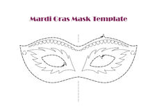 Carnival Prop Mask Template,  Printable Line Vector Stock Images