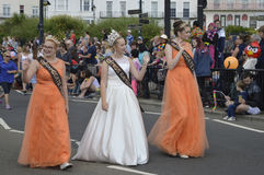 Carnival queen and princesses parade in the Margate Carnival. MARGATE,UK-August 6: Miss Ramsgate carnival queen and princesses take part in the annual Margate stock images