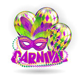 Carnival realistic concept with masks and balloons on white background. Vector illustration stock illustration