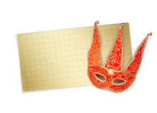 Carnival red mask with old paper for greeting Royalty Free Stock Photos