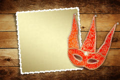 Carnival red mask with old paper for greeting Stock Images