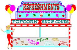 Carnival refreshment stand Stock Photos