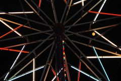 Carnival ride lights. From the center of the Merry-go-round Stock Photo