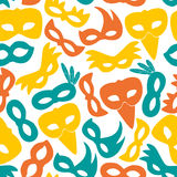 Carnival rio color masks icons seamless pattern Royalty Free Stock Photography