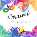Carnival. Rio de Janeiro Brazil, Brazilian Carnival, Carnival festival poster vector mask, balloon, confetti. Abstract colorful background. Palm tree leaves Stock Photos