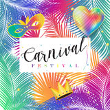 Carnival. 2017 Rio de Janeiro Brazil, Brazilian Carnival, Carnival festival poster vector mask, balloon, confetti. Abstract colorful background. Palm tree leaves Stock Photos