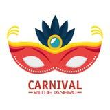 Carnival rio de janeiro mask blue feathers royalty free illustration