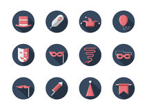 Carnival round flat icons set Royalty Free Stock Image