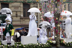 Carnival in Saint-Petersburg. City Day carnival in Saint-Petersburg. The women in white old clothes Royalty Free Stock Images