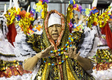 Carnival Samba Dancer Brazil. São Paulo, Brazil- February 7, 2016: Brazilian samba dancers performing in costume for the samba school Academicos do Tucuruvi at Royalty Free Stock Photo