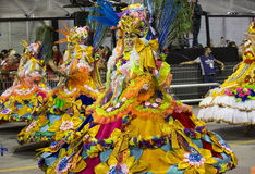 Carnival Samba Dancer Brazil. São Paulo, Brazil- February 7, 2016: Brazilian samba dancers performing in costume for the samba school Academicos do Tucuruvi at Royalty Free Stock Photography