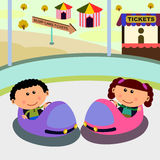 Carnival scene bump cars. Cute cartoon characters spending a day in a carnival riding bump cars Stock Photography