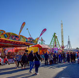 Carnival Scene. Claremont,WA,Australia-September 25,2016: Crowds of people, game booths and amusement rides at the 2016 Perth Royal Show at the Claremont Stock Image