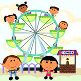 Carnival scene ferris wheel. Cute cartoon characters spending a day in a carnival riding a ferris wheel Royalty Free Stock Photos