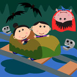 Carnival scene horror ride. Cute cartoon characters spending a day in a carnival riding a horror ride Royalty Free Stock Images