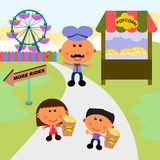 Carnival scene popcorn. Cute cartoon characters spending a day in a carnival eating popcorn stock illustration