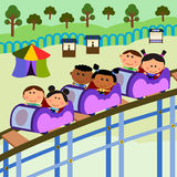Carnival scene roller coaster. Cute cartoon characters spending a day in a carnival riding a roller coaster stock illustration
