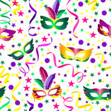 Carnival seamless background. With stars, mask and ribbons Royalty Free Stock Photography